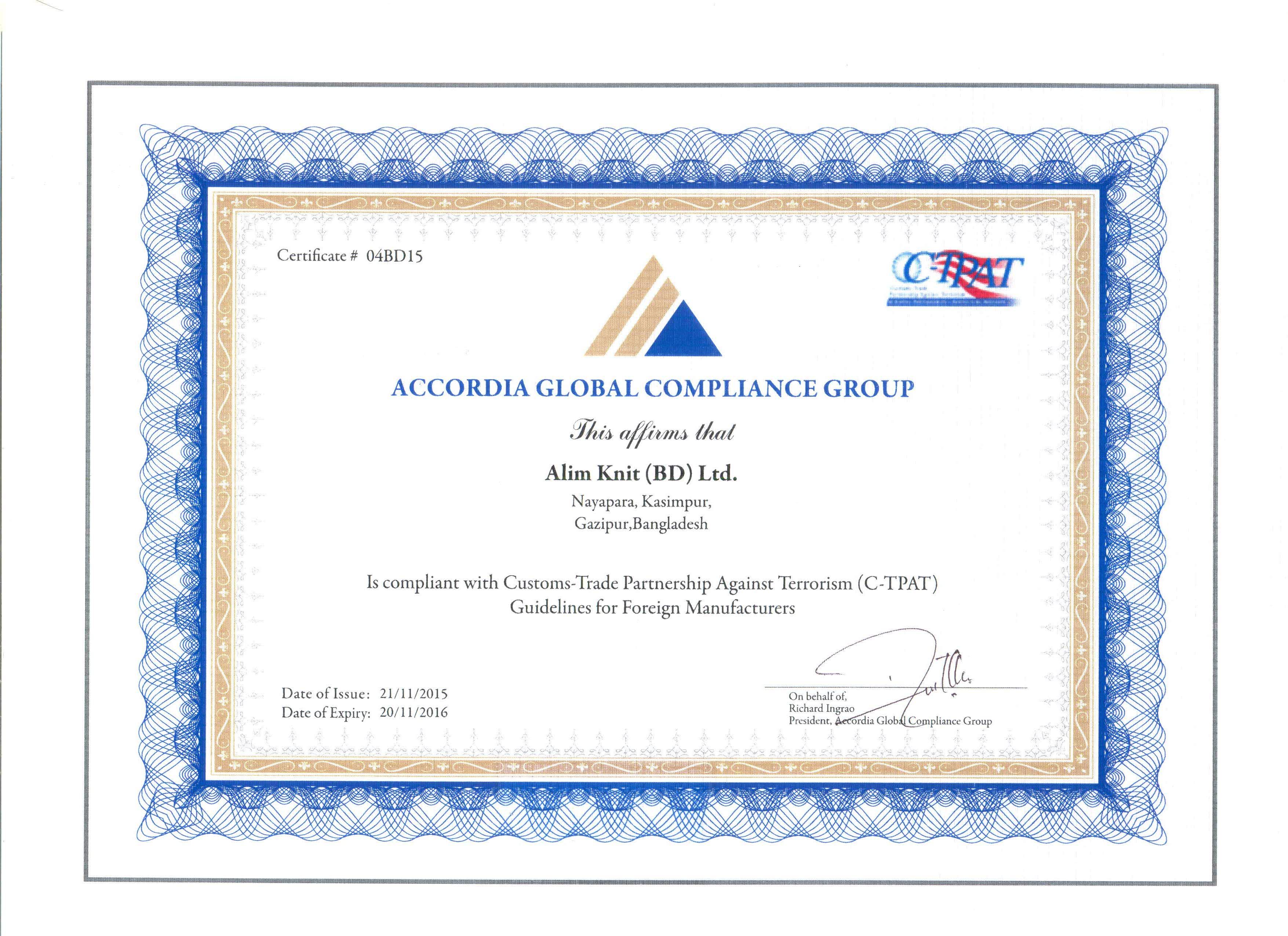 Alim knit bd ltd certifications certificate of ctpat xflitez Images